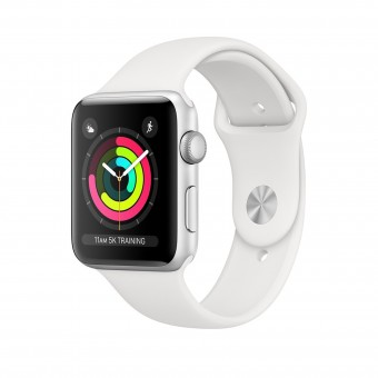 Apple Watch Series 3 38mm Silver Aluminium White Sport Band MTEY2