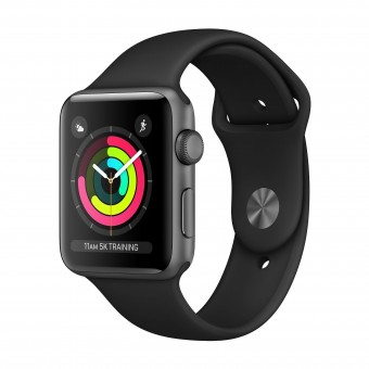 Apple Watch Series 3 42mm Space Gray Aluminium Black Sport MTF32