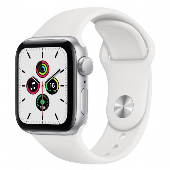 Apple Watch SE 40mm Silver Aluminium White Sport Band MYDM2
